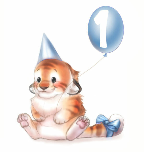An illustration of the lil' tiger character holding a balloon with the number one on it