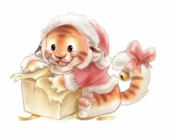 A an illustration of my lil' tiger character opening a present wearing a santa outfit