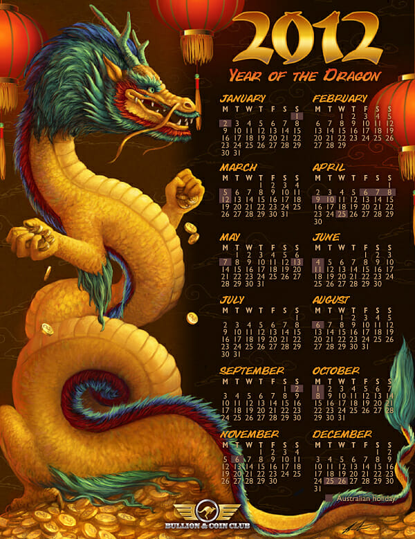Chinese Dragon with 2012 Calendar