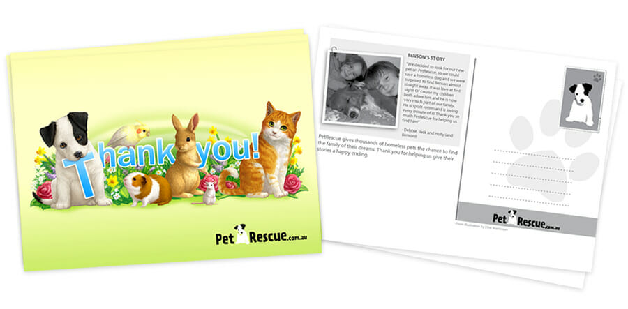 PetRescue Postcard Front and Back