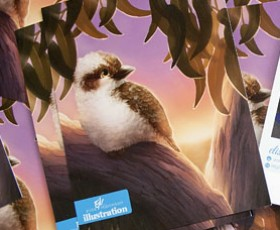 Promotional kookaburra postcards