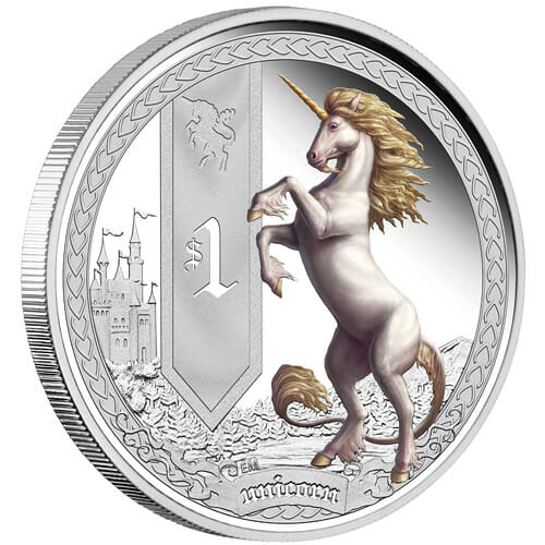 Mythical Creatures silver coin series coin reverse