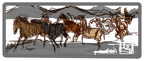 Eight_horse_Illustration_Elise_Martinson_Sketch