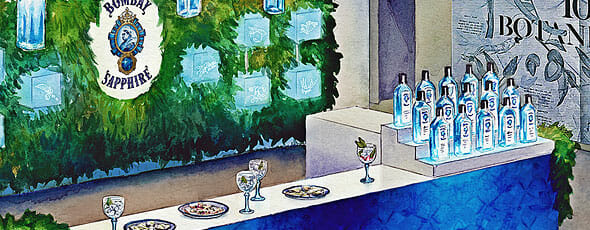 Bombay Sapphire Pop-Up Bar illustration