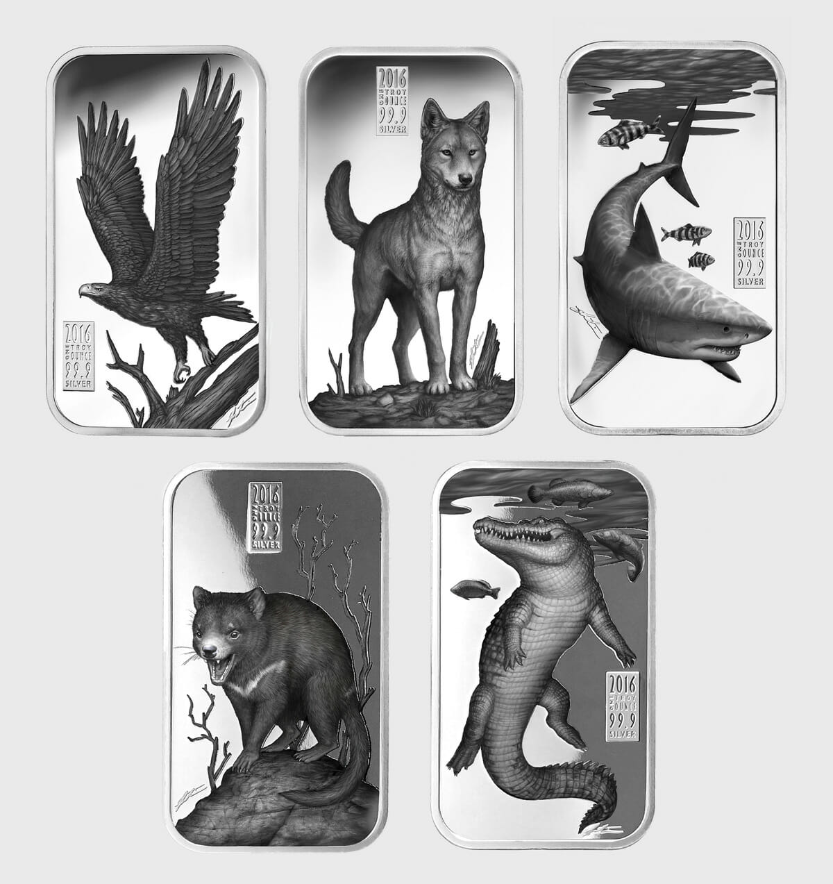 Coin designs for the Australian Apex Predators coin series; wedge-tailed eagle, dingo, great white shark, tasmanian devil and crocodile