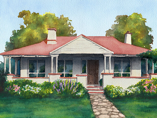Jacob's Creek Bungalow watercolour