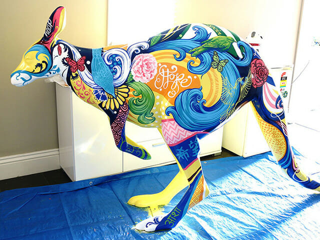 Hope for Hope painted kangaroo