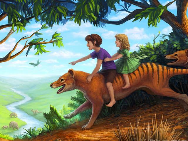Thylacine book illustration