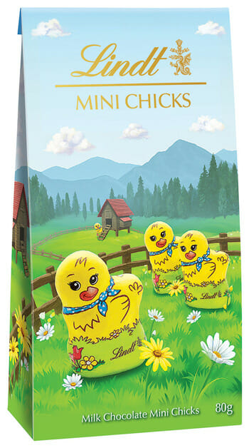 Lindt & Sprungli Mini Chicks packaging illustrations Mock Up