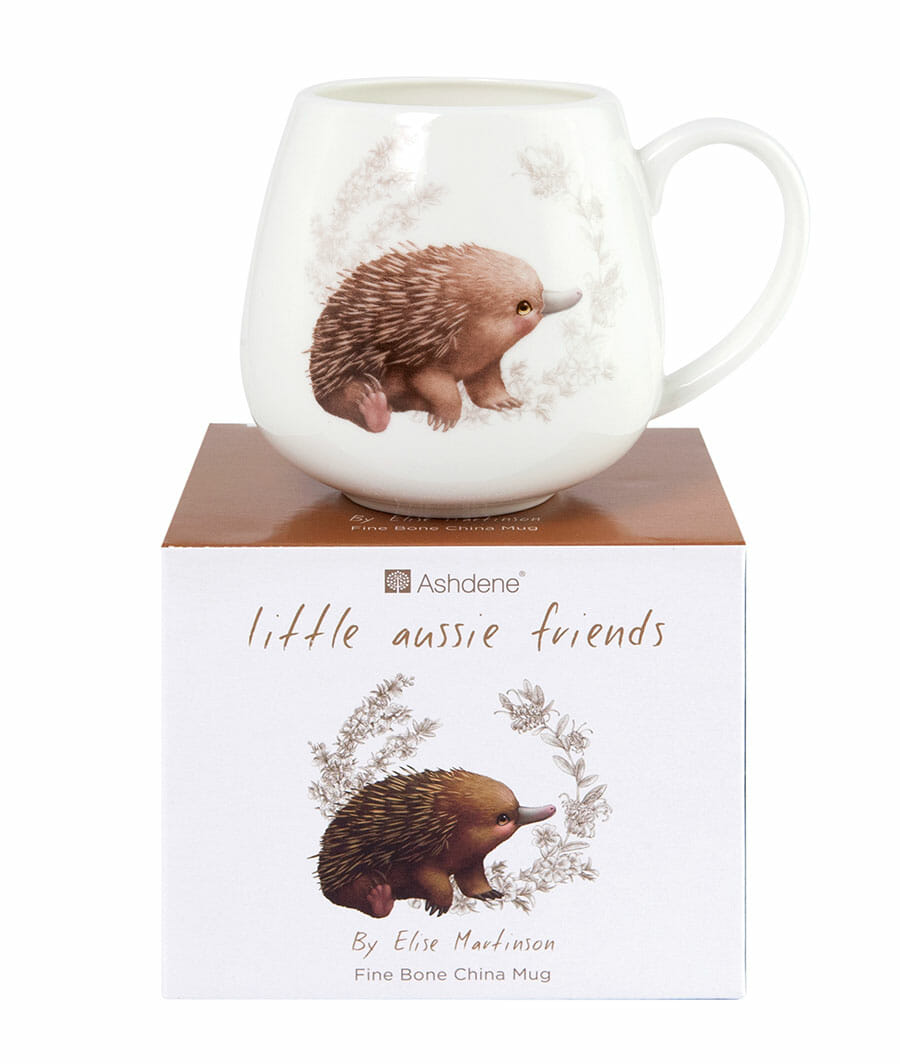 Picture of Little Aussie Friends article showing baby Australian animal tableware - echidna mug