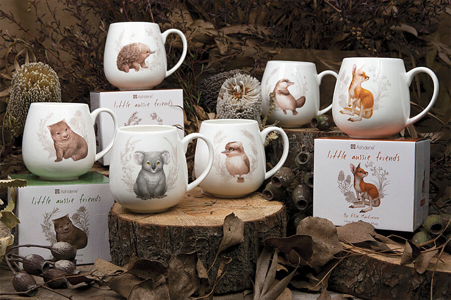 Picture of Little Aussie Friends article showing baby Australian animal tableware product group shot